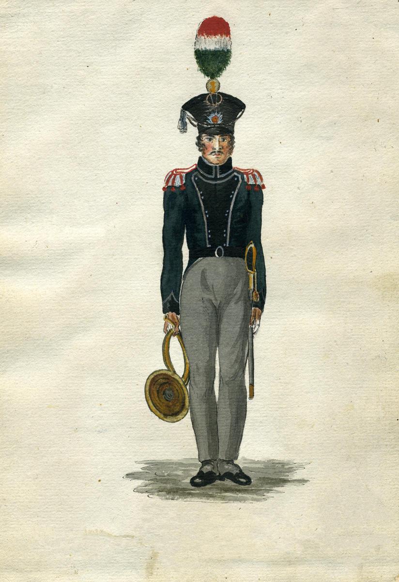 Valdhornist_i_Trondhjemske_Brigades_Jgercorps_1818_rev.tif