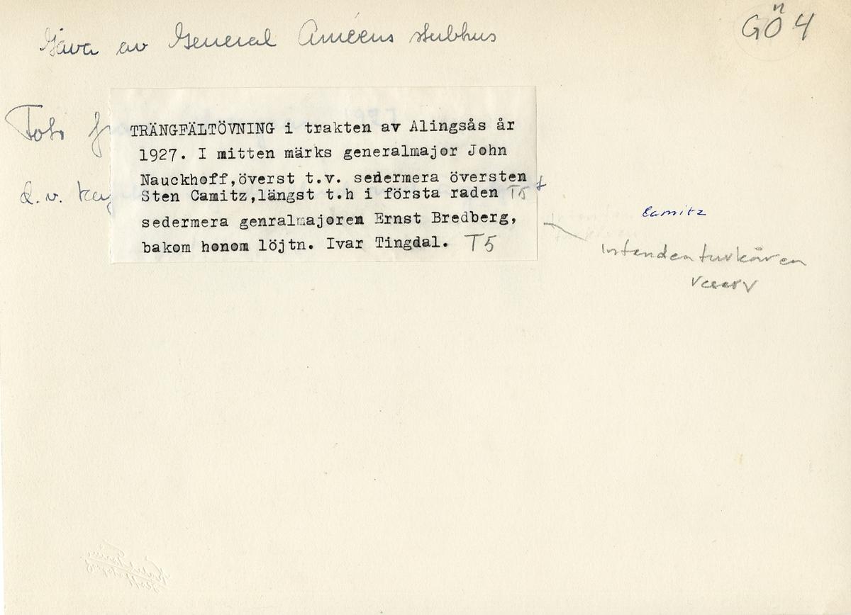 Trängfältövning i trakten av Alingsås 1927. För namn, se bild nr. 2.