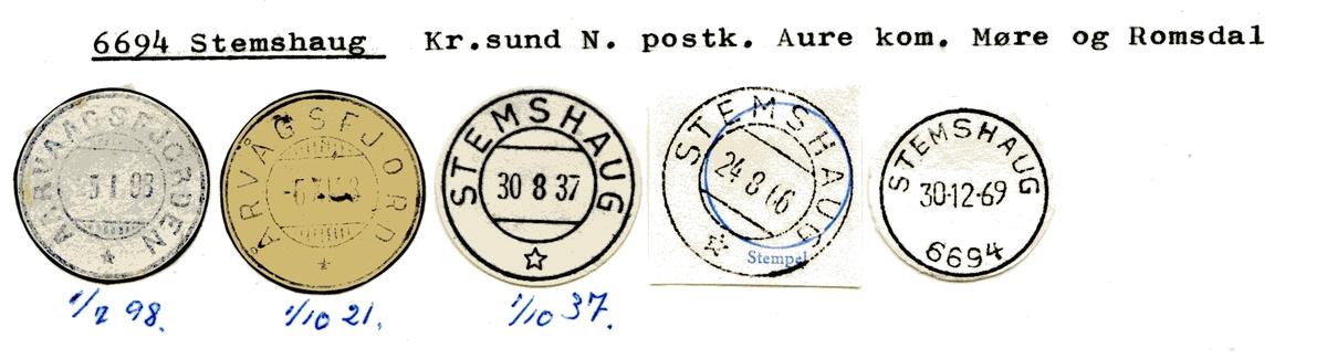 Stempelkatalog  6694 Stemshaug, Aure kommune, Møre og Romsdal (Aarvaagsfjorden, Årvågsfjord)