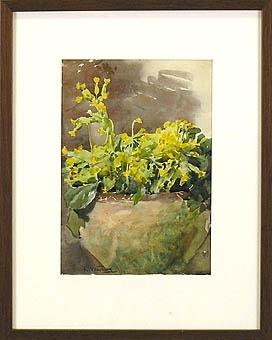 """Enl. Liggaren:""""Akvarell, Oxläggar, sign. E Warling.""""   Oxläggar i urna.  Endast vit passepartout. Inköpt på auktion."""