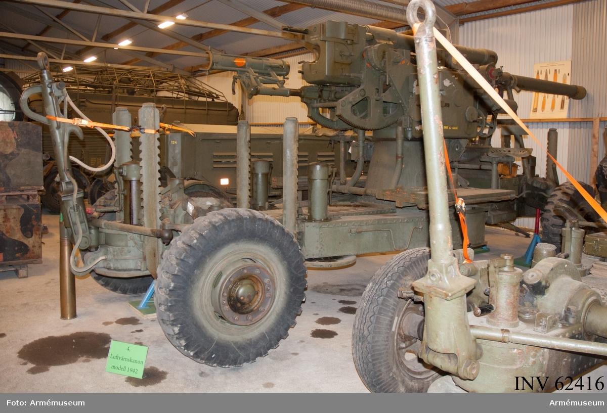 Grupp F I. Samhörande är kanon, reservdelar i låda, verktyg i låda, nattbelysning i låda, lavettlåda med kikare och kvadrant.