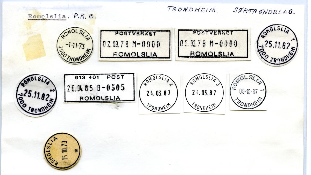 Stempelkatalog Romolslia, Trondheim, Sør-Trøndelag