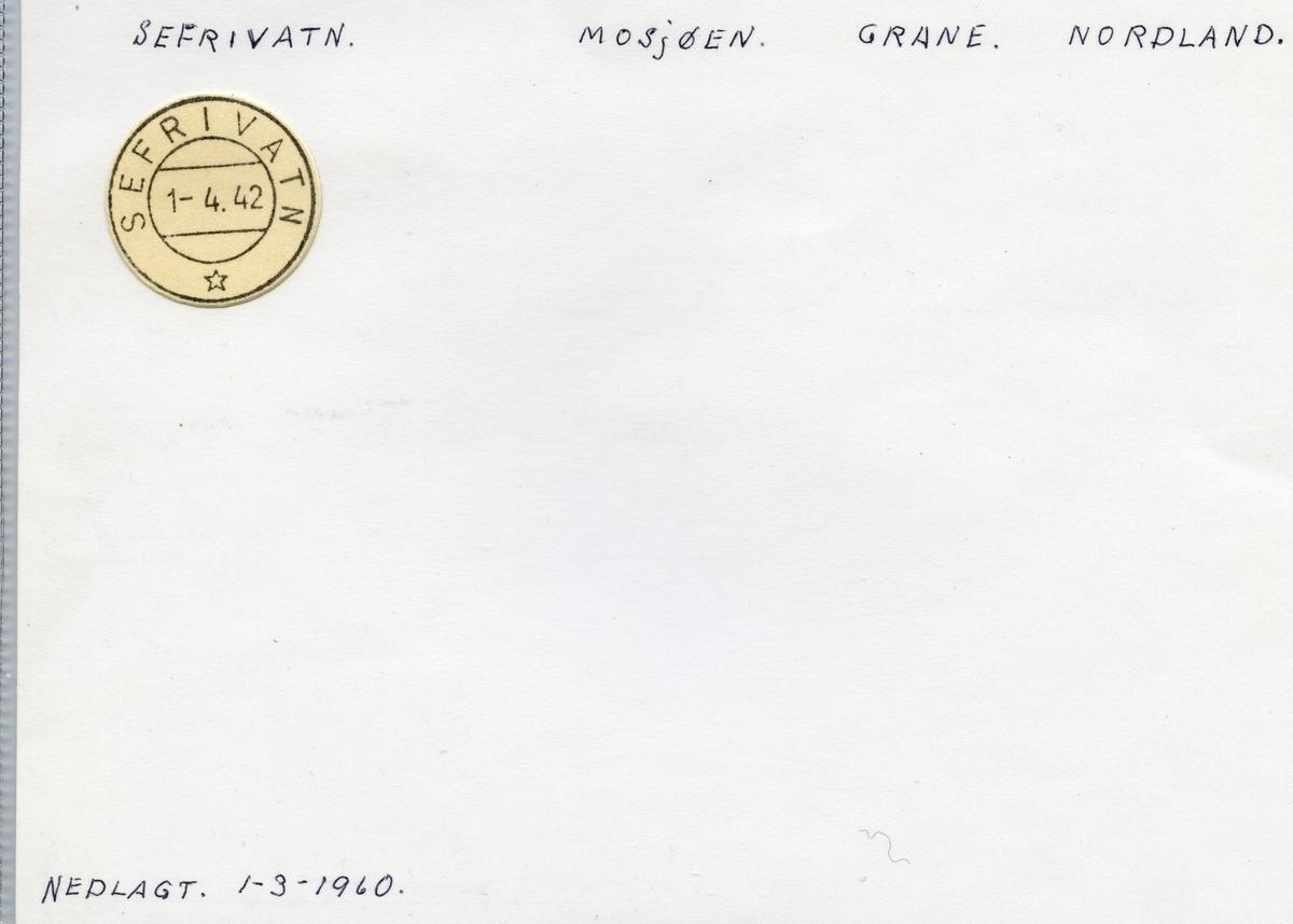 Stempelkatalog  Sefrivatn, Grane kommune, Nordland