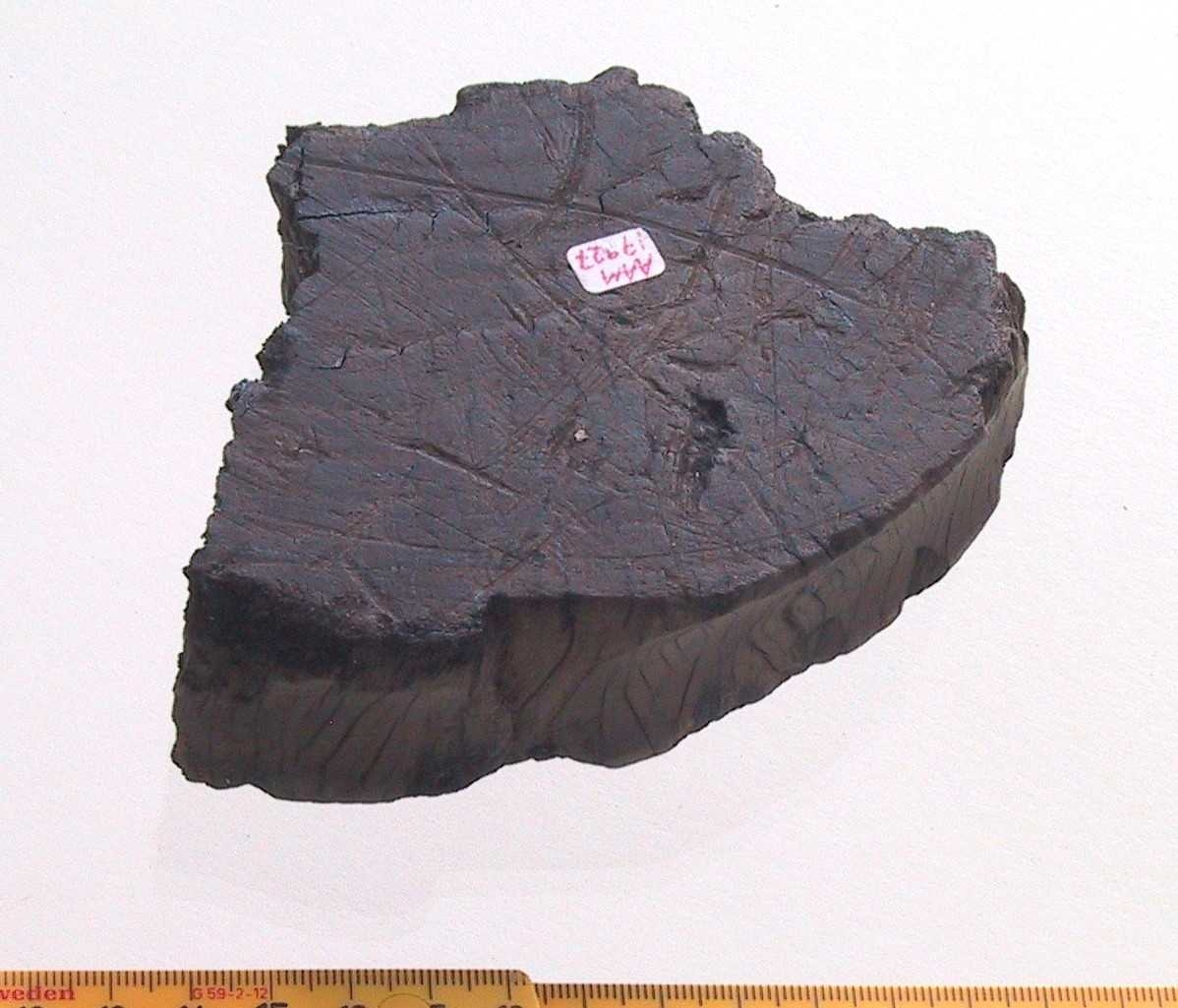 Blokkskive, dreid av pukkenholt. Mørk farge. Tilstand: Kun et fragment, omlag 1/4 del av opprinnelig størrelse.