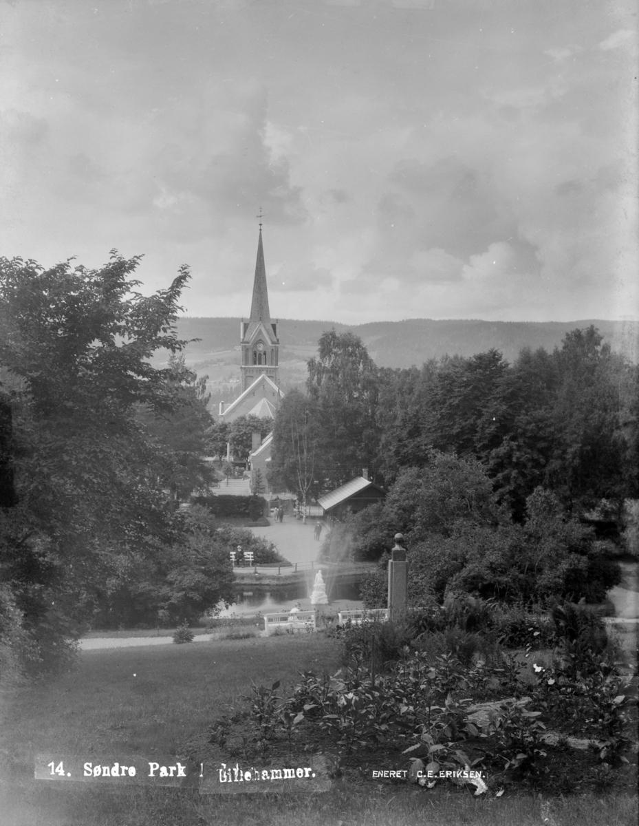 Lillehammer kirke og Søndre park.
