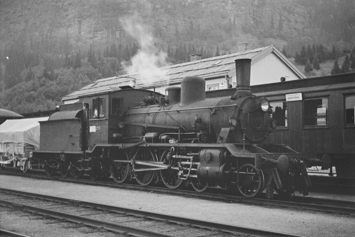 Godstog til Namsos på Grong stasjon. Toget trekkes av damplokomotiv type 18c nr. 255.