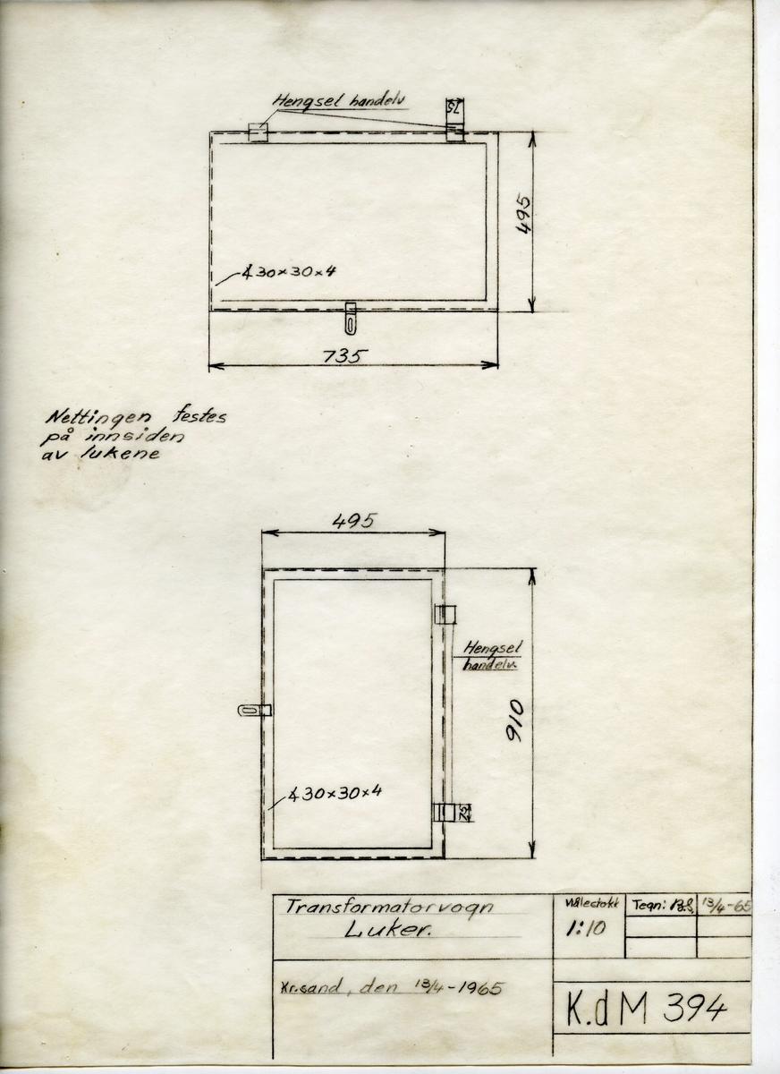 Håndtegnet arbeidstegning for luker til transformatorvogn, utarbeidet på Krossen 1965. Har oppfinnelig tegningsnummer K.d.M 394