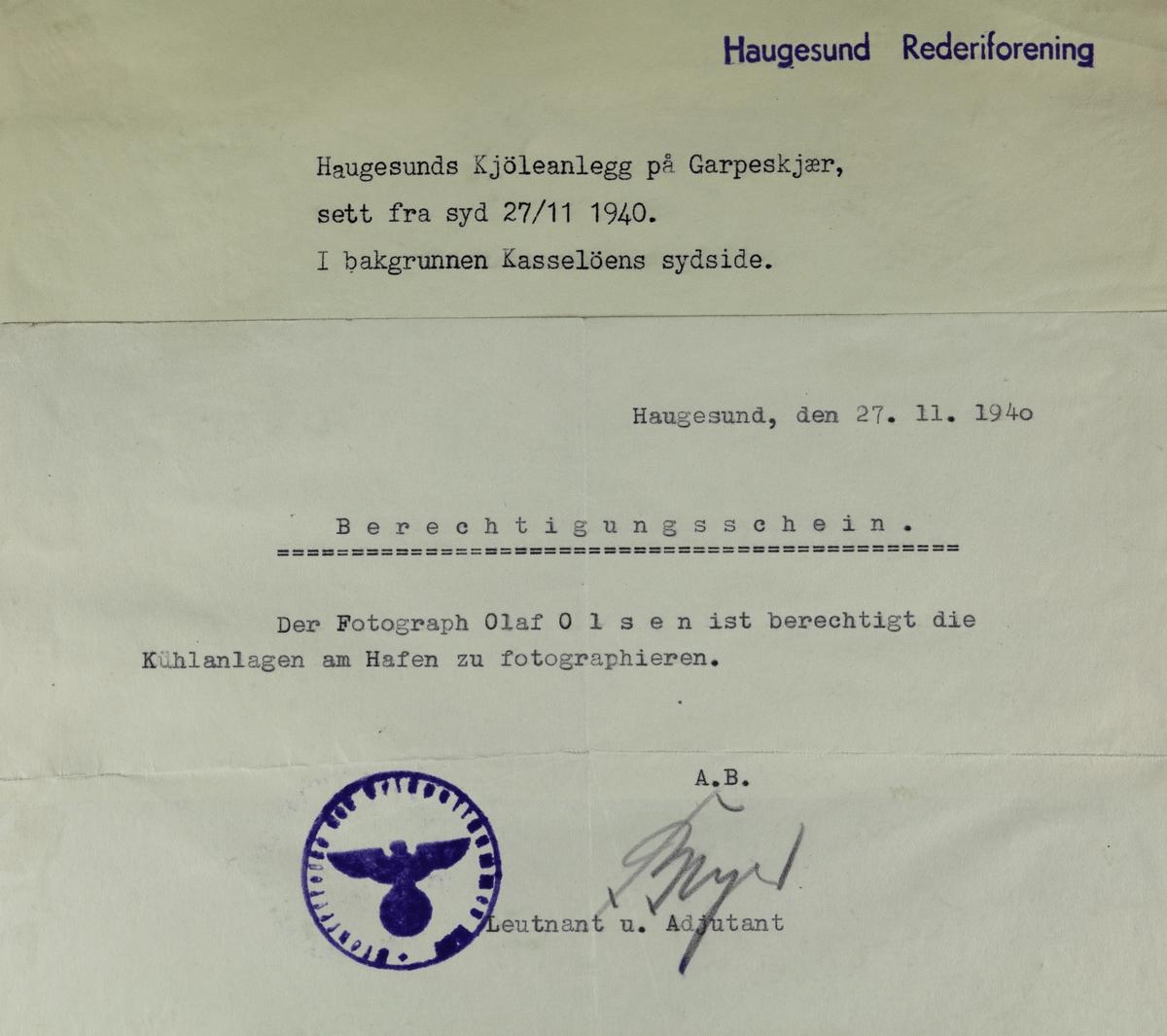 Risøen - Haugesunds Kjøleanlegg på Garpeskjær, sett fra syd 27/11 1940.