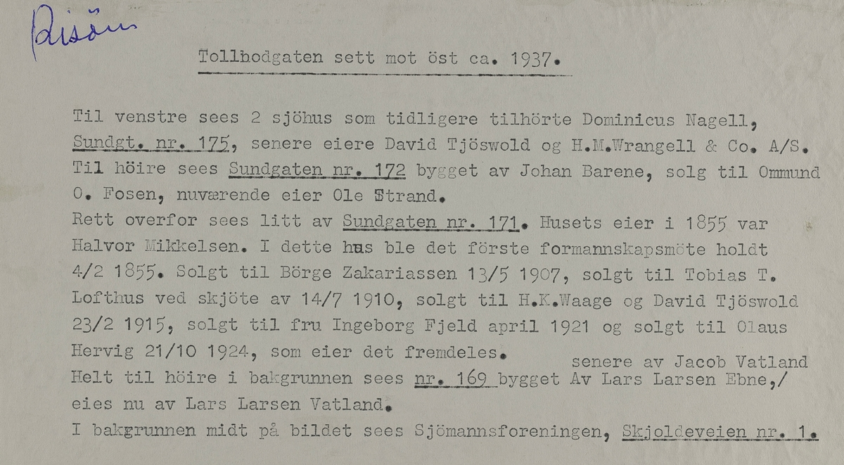 X Risøen - Tollbodgaten sett mot øst ca.1937