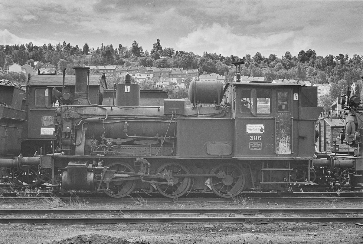 Hensatt damplokomotiv type 25a nr. 306 i Lodalen i Oslo.