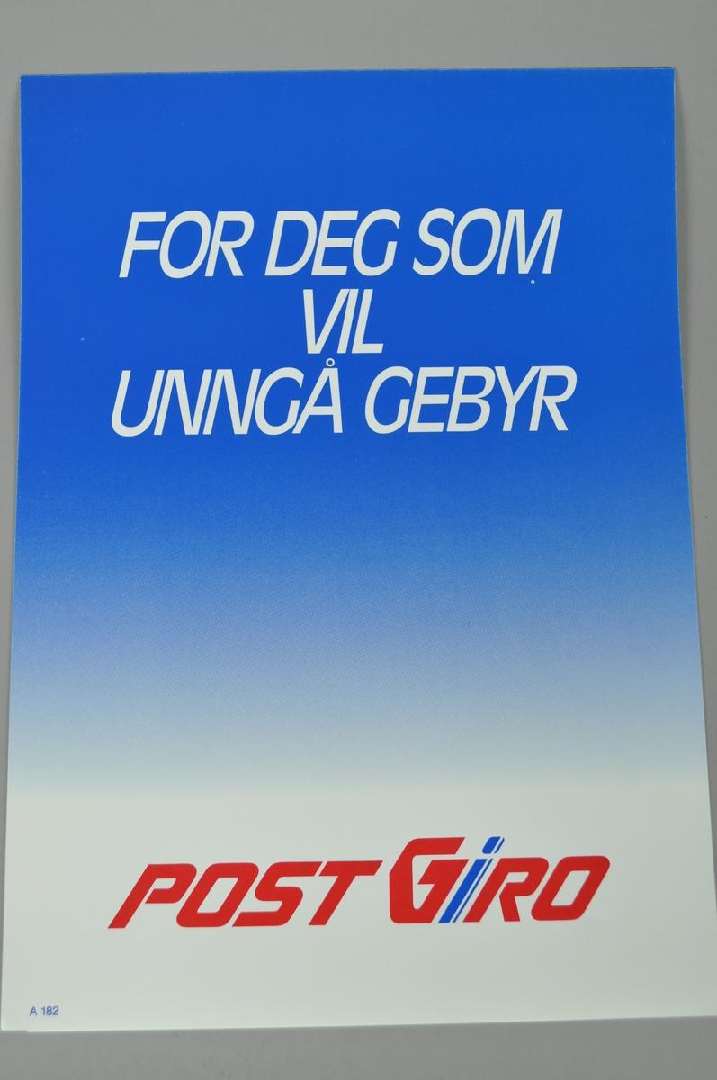 Rektangulær plakat med tekst og delvis blå bakgrunn.