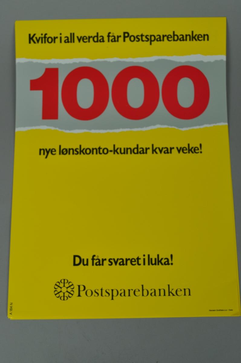 1000 personer får ny lønnskonto hver uke. Tekst med gul bakgrunn.
