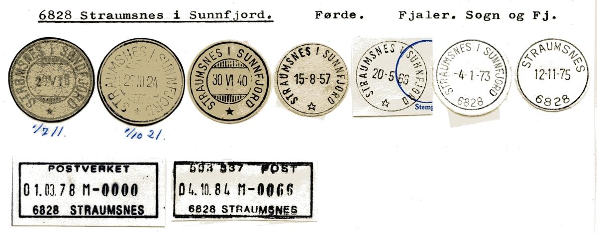 Stempelkatalog 6828 Straumsnes i Sunnfjord, Fjaler kommune, Sogn og Fjordane