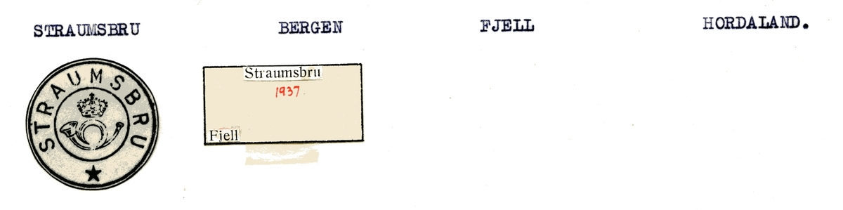 Stempelkatalog Straumsbru, Bergen, Fjell, Hordaland