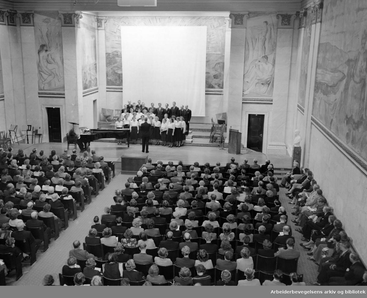 Universitetet. Universitetets aula. Interiør. Oktober 1950
