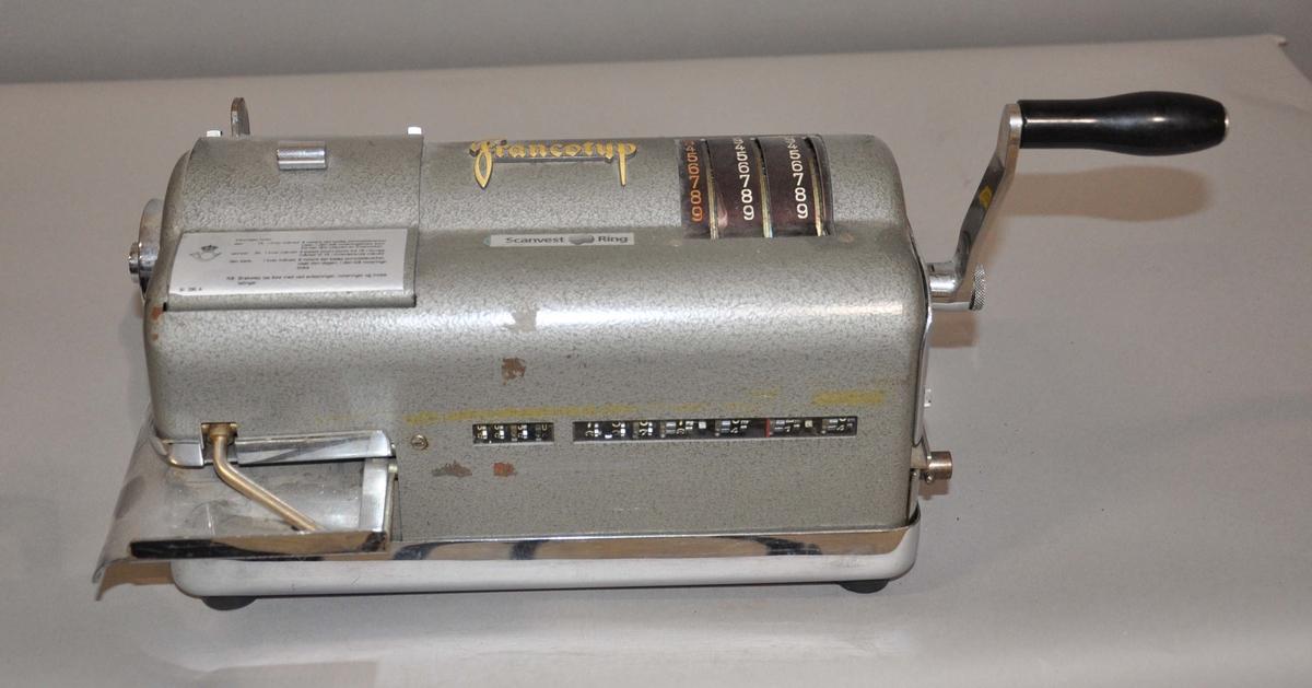 Frankeringsmaskin av typen Francotyp. Merket Scanvest Ring