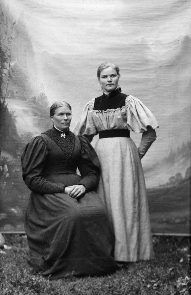 Portrett av Margit Skurdal som sitter i stol, Karen Skurdal står ved siden