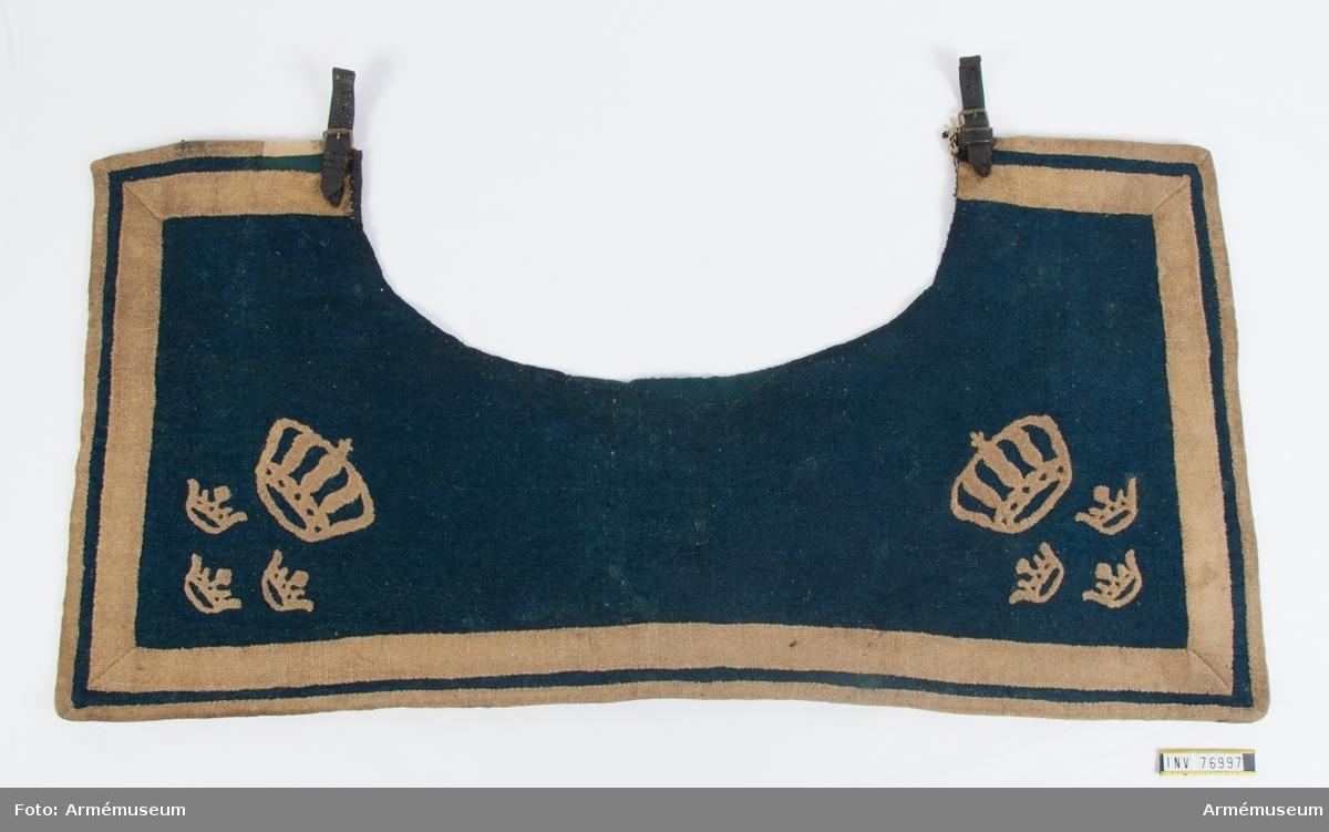 Grupp K1. Till sadelmundering. Samhörande kappsäck av kläde, pistolhölster med pistolkappor.