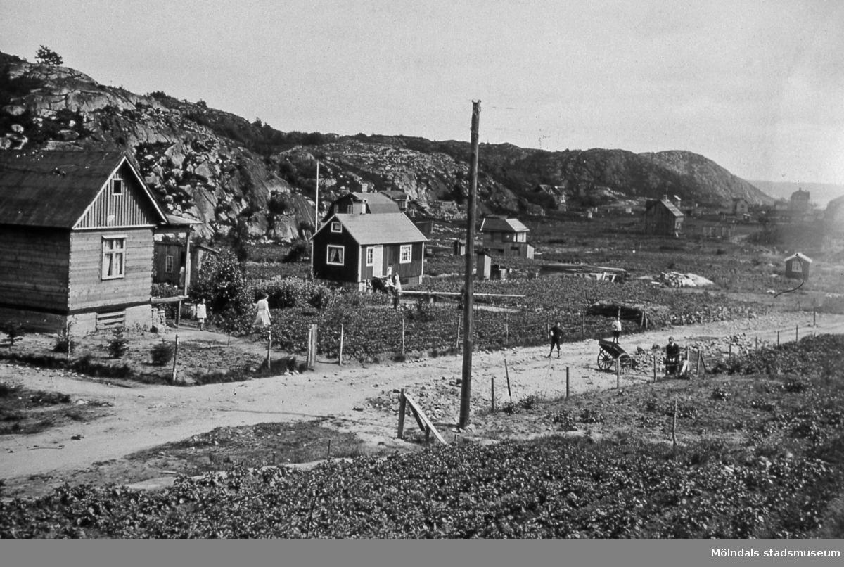 Bebyggelse vid Toltorpsgatan i Toltorpsdalen, Mölndal, före år 1923, då gatan stensattes. T 4:3. Reprofotografi.