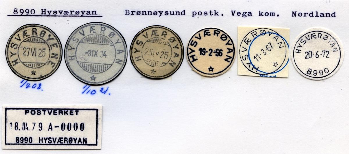 Stempelkatalog 8990 Hysværøyan (Hysværøyene), Brønnøysund, Vega, Nordland