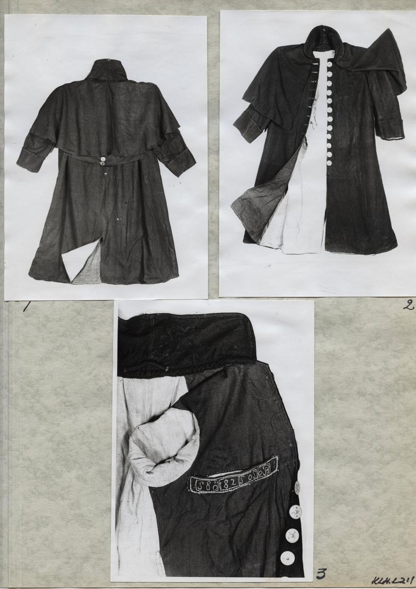 Kartongark med tre fotografier av en ytterrock.