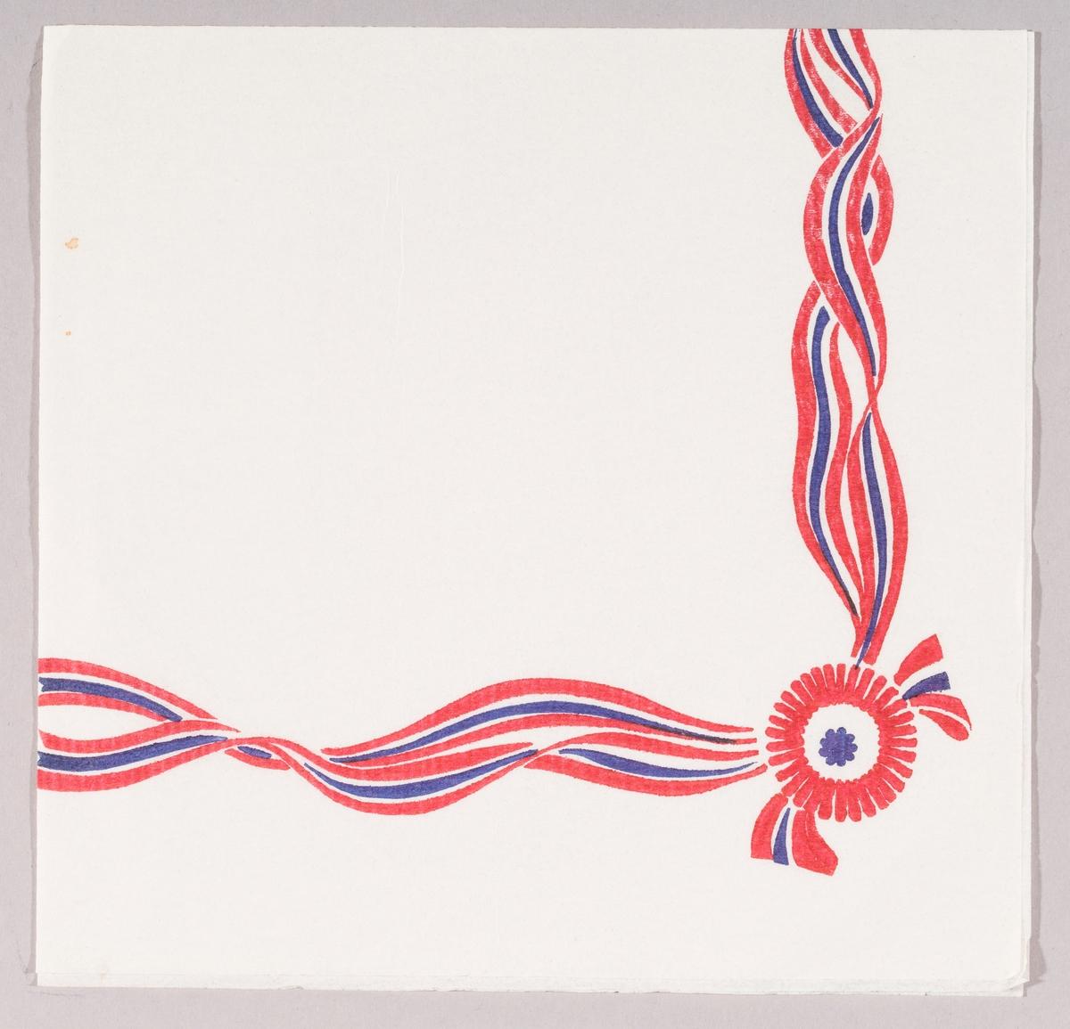 Et bånd i rødt, hvitt og blå med 17. mai rosett