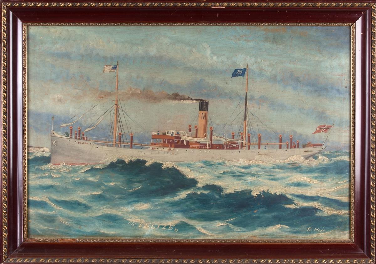 Skipsportrett av DS BELIZE under fart med klippene ved Dover i bakgrunn. Fører amerikansk flagg i formasten og skorsteinsmerke til rederiet C. Mathisen i Bergen.