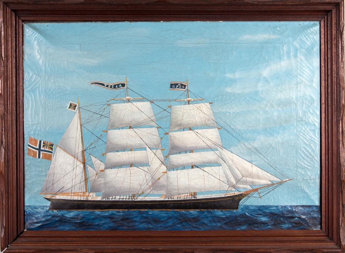 Skipsportrett av bark ALERT med full seilføring på åpent hav. Vimpel med kjenningstegn på framre mast og vimpel med skipets navn på den midterste masten. Skipet fører norsk flagg med svensk-norsk unionsmerke i akter og orlogsgjøs.