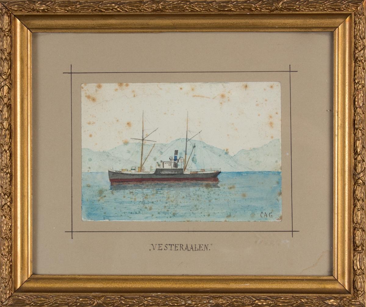 Skipsportrett av DS VESTERAALEN under fart med landskap i bakgrunnen.