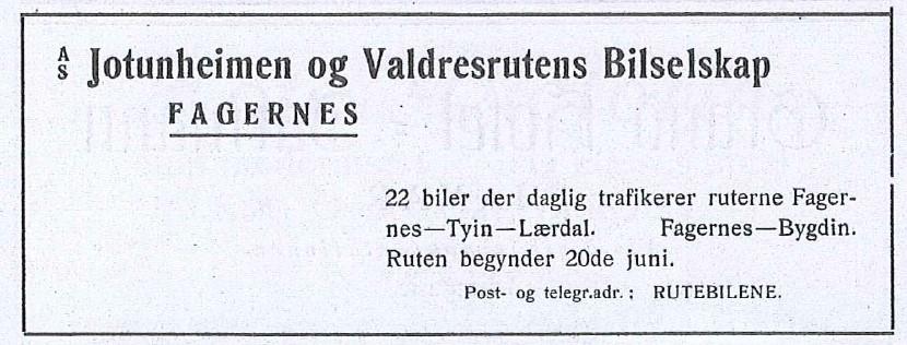 Annonse som sto i Den Norske Turistforenings årbok 1924.