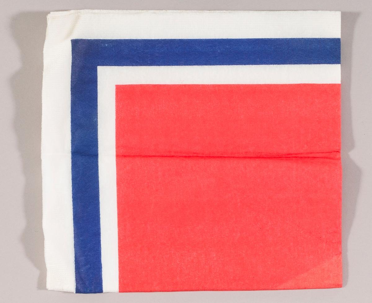 En rød firkant og en kant med fargene blå og hvit.