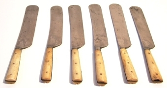 Matkniv med blad av järn och tvådelat skaft av ben som fastnitat på tången.