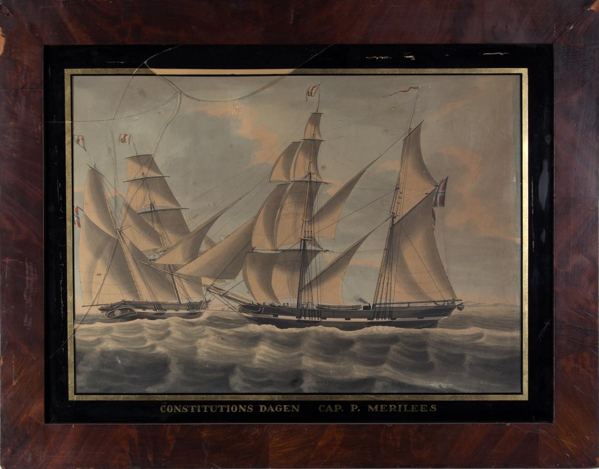 Skipsportrett av skonnertbrigg CONSTITUTIONSDAGEN på åpent hav. Skipet sett både fra lengderetning og fra akter. 8 mann på dekk. Det kommer røyk fra en liten pipe på dekk. Norsk flagg i akter.
