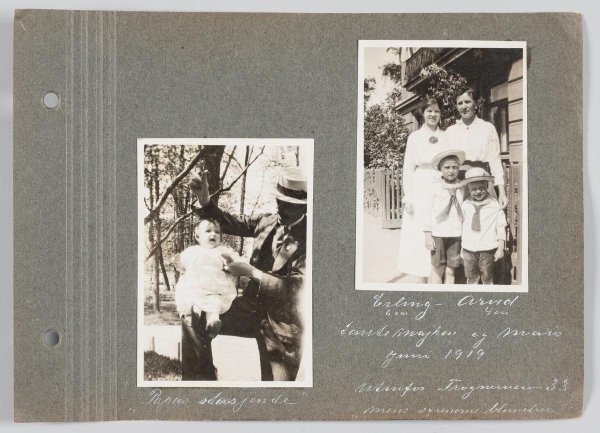 Bilde til venstre: Martin Michelsen med datteren Vera Kristine i Frognerveien, juni 1919. Bilde til høyre: Erling og Arvid Michelsen med tantene Majken og Mais Hegerlund i Frognerveien, juni 1919.