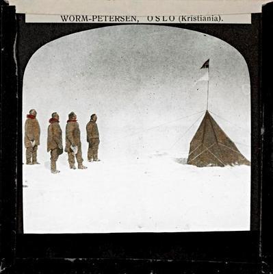 Kolorert lysbilde fra Sydpolen laget av Worm-Pedersen.