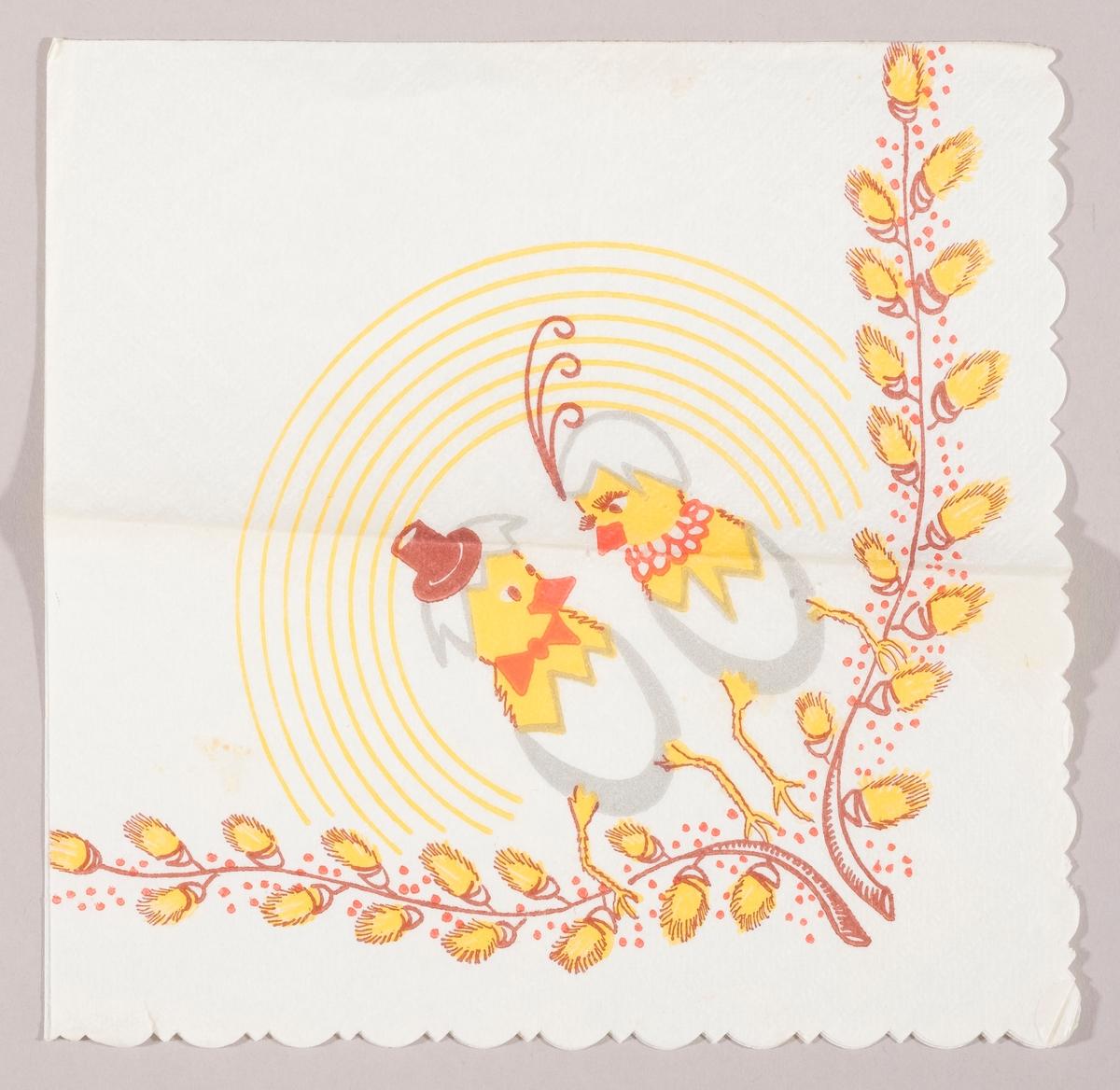 """To kyllinger kledt i eggeskal. Den ene kyllingen har herrehatt og sløyfe. Den andre kyllingen har fjer på hodeskallet og halsskjede. Grener med """"gåsunger"""" langs kanten. Runde gule striper i bakgrunnen."""