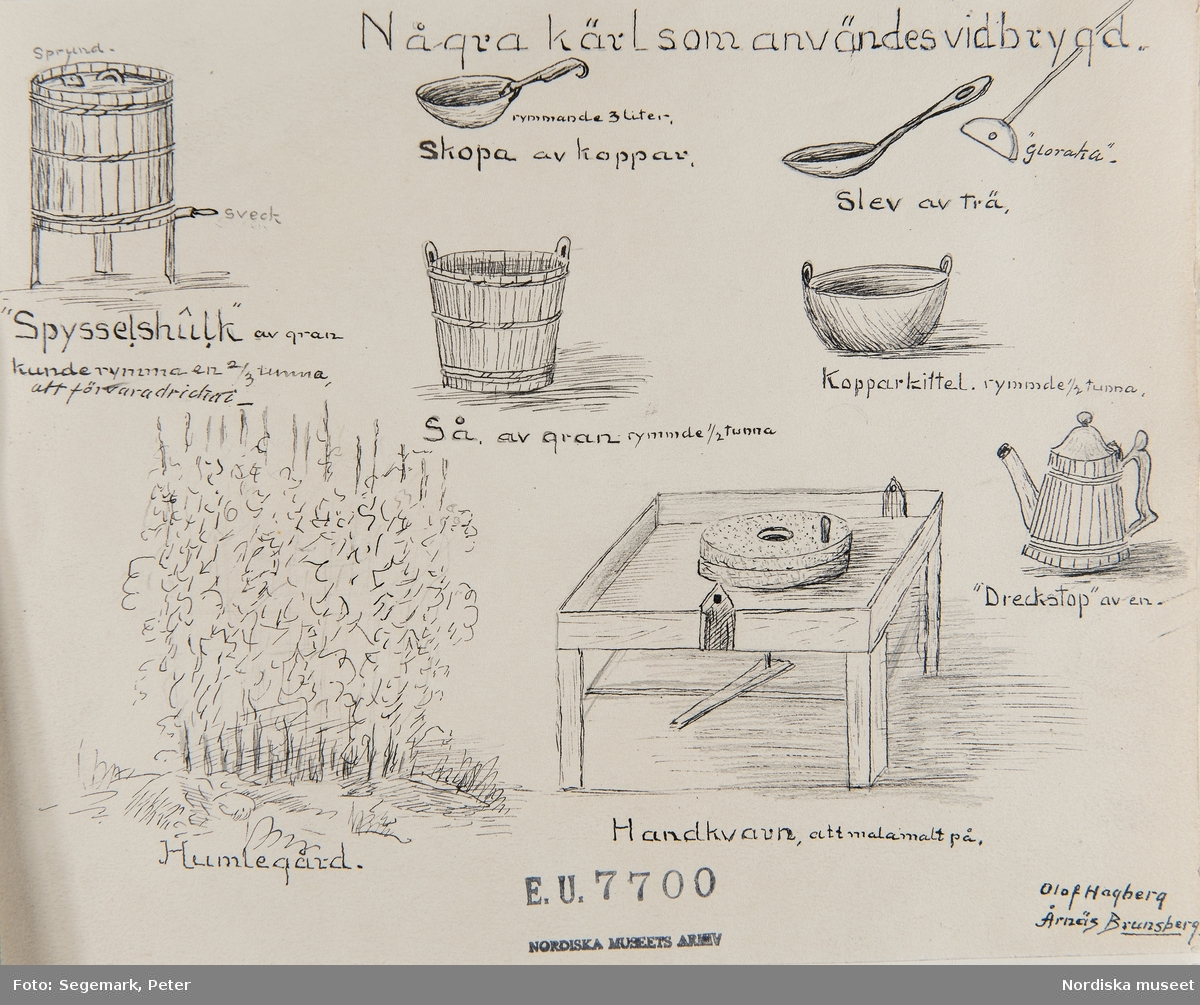 Värmland. Jösse härad. Brunskog socken. Några kärl som användes vid brygd. E.U.7700. N.M. 58 Mältning och brygd vol. 1