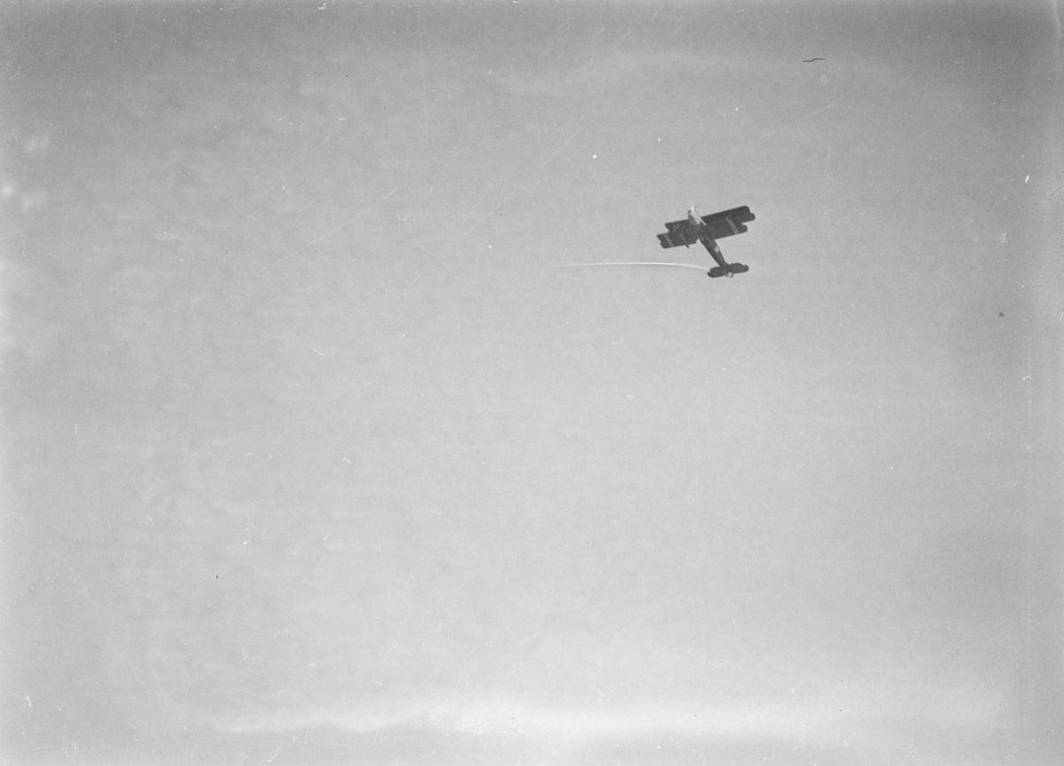 Fly, type Biplan, i luften over Lillehammer.