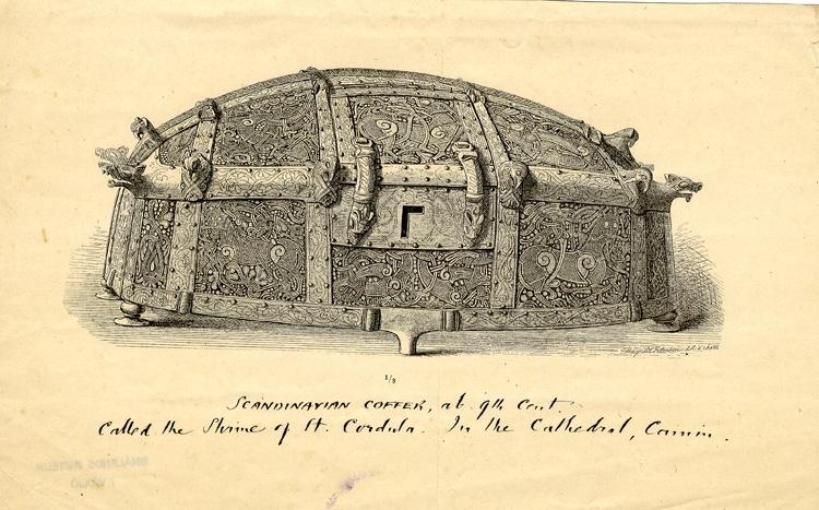 Litografi. Ornerat skrin av älghorn och metall. Handskriven text under bilden på engelska. S:ta Cordulas skrin, Cammin (Kamien Pomo).