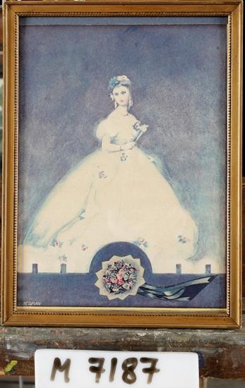 Reproduktion efter akvarell av Einar Nerman, föreställande Christina Nilsson som Violetta. Christina Nilsson (1843-1921)