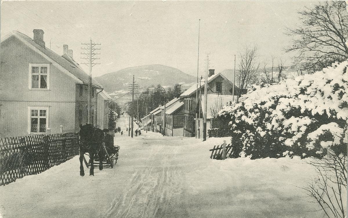 Repro: Storgata, sett nordover fra Utsiktsbakken, forretningshus, hest og kjerre, postkort.
