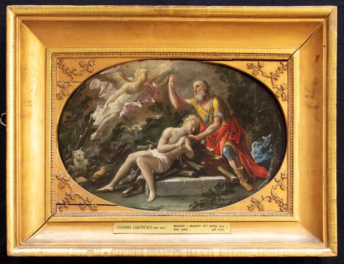 Målning i guldram. Motiv: Abraham i begrepp att offra sin son Isak.
