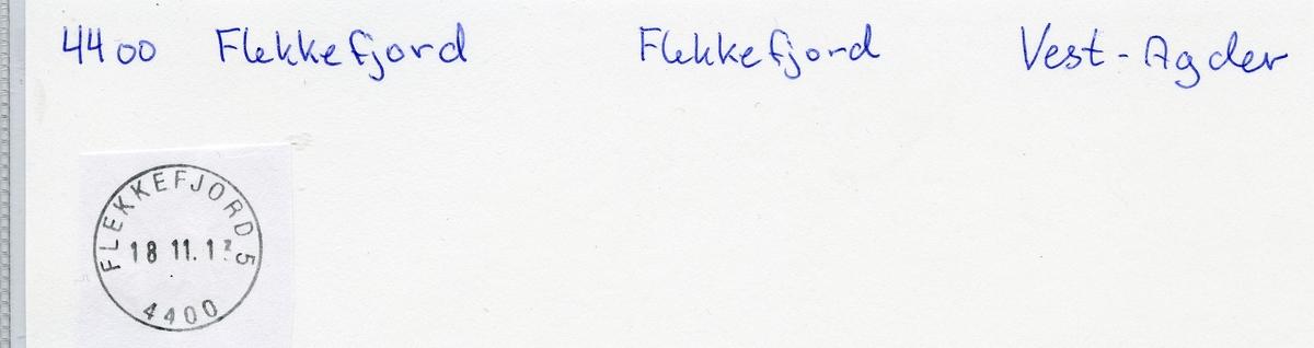 Stempelkatalog, Flekkefjord, Vest-Agder