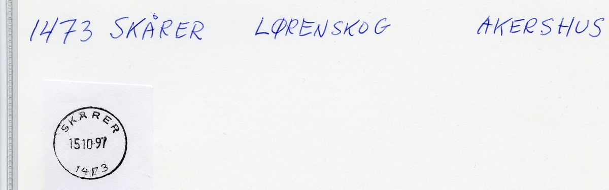 Stempelkatalog 1473 Skårer, Lørenskog kommune, Akershus