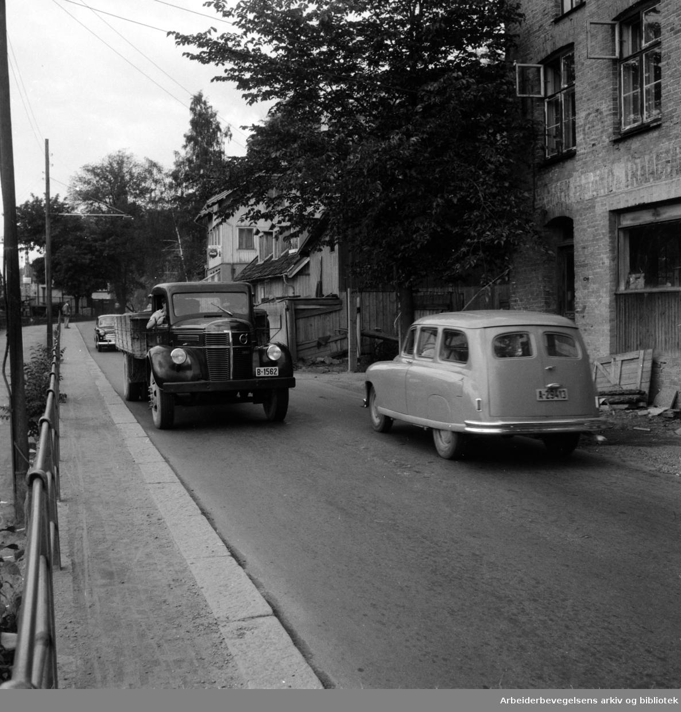 Mosseveien ved Bekkelaget. Juli 1954