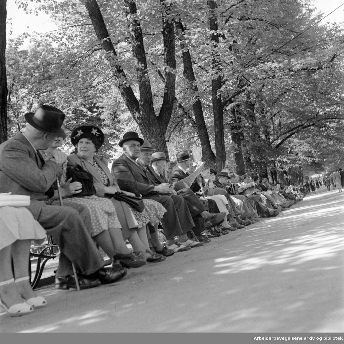 Karl Johans gate. Mai 1950