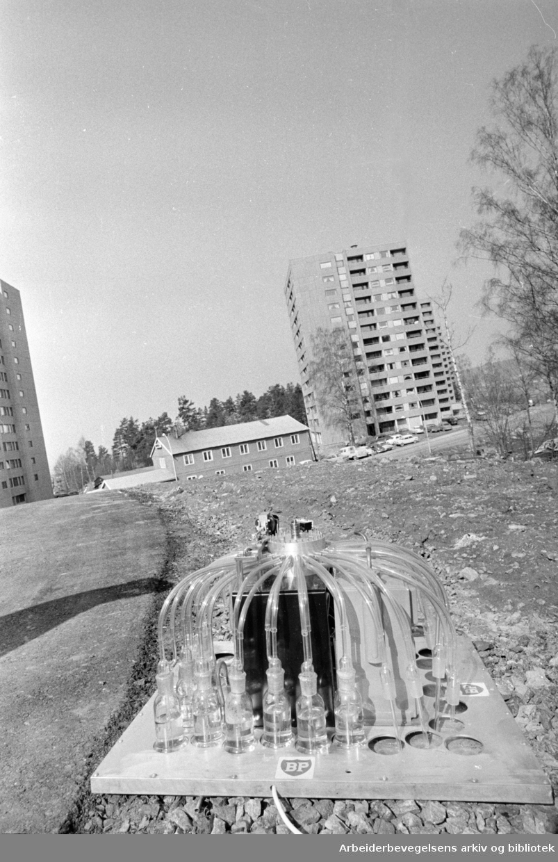 Haugerud. Søppel blir varme i Haugerud-anlegg. April 1969