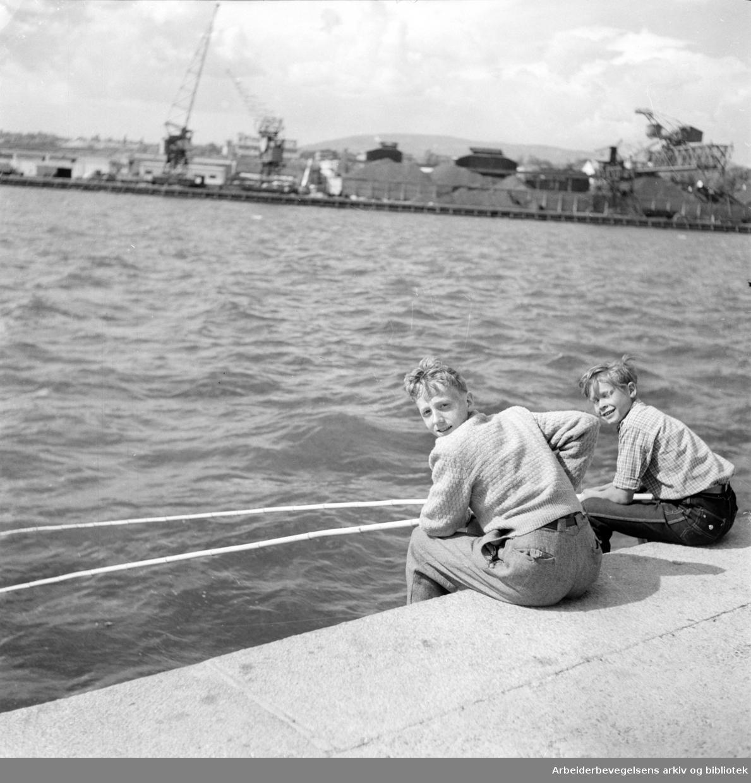Havn. Bryggefiskere. Tor Levordsen og Tore Hafsengen..Juni 1952