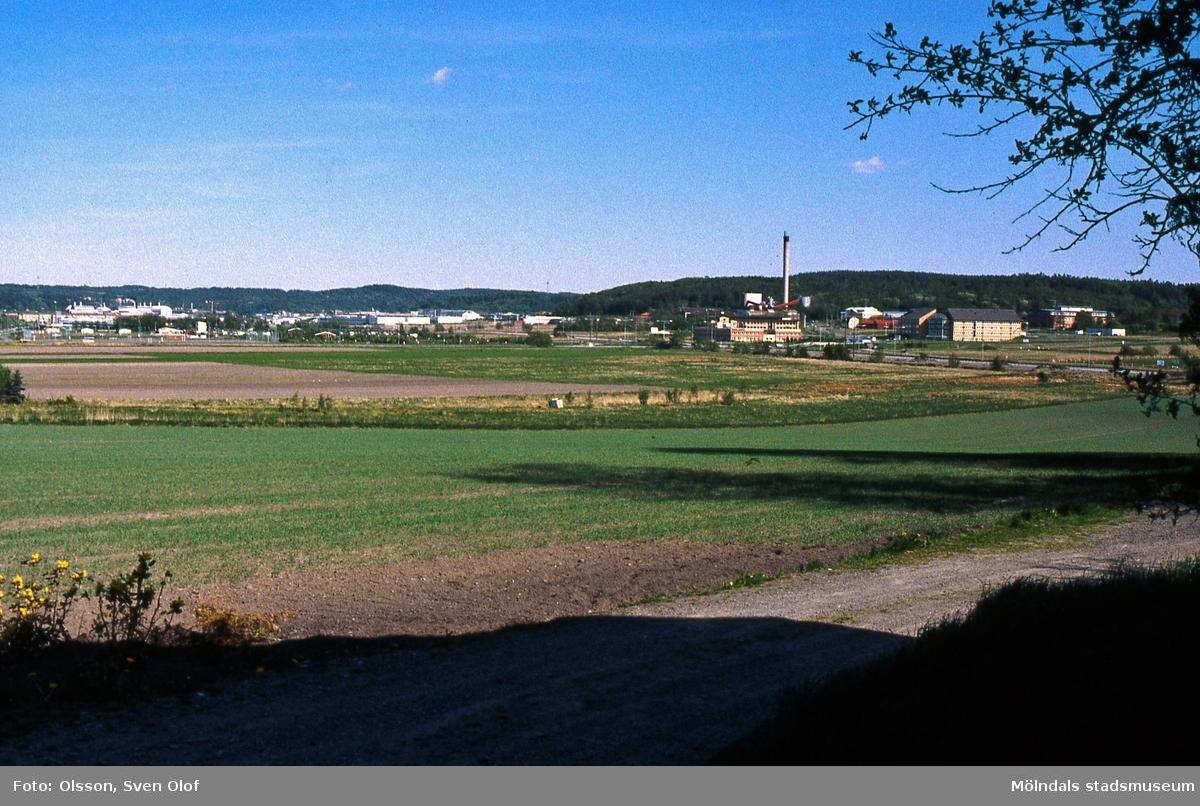 Del av Fässbergsdalen, Mölndal, i maj 1993. Vy från Fässberg med uppkommen säd mot Kärra. FD 6:31.