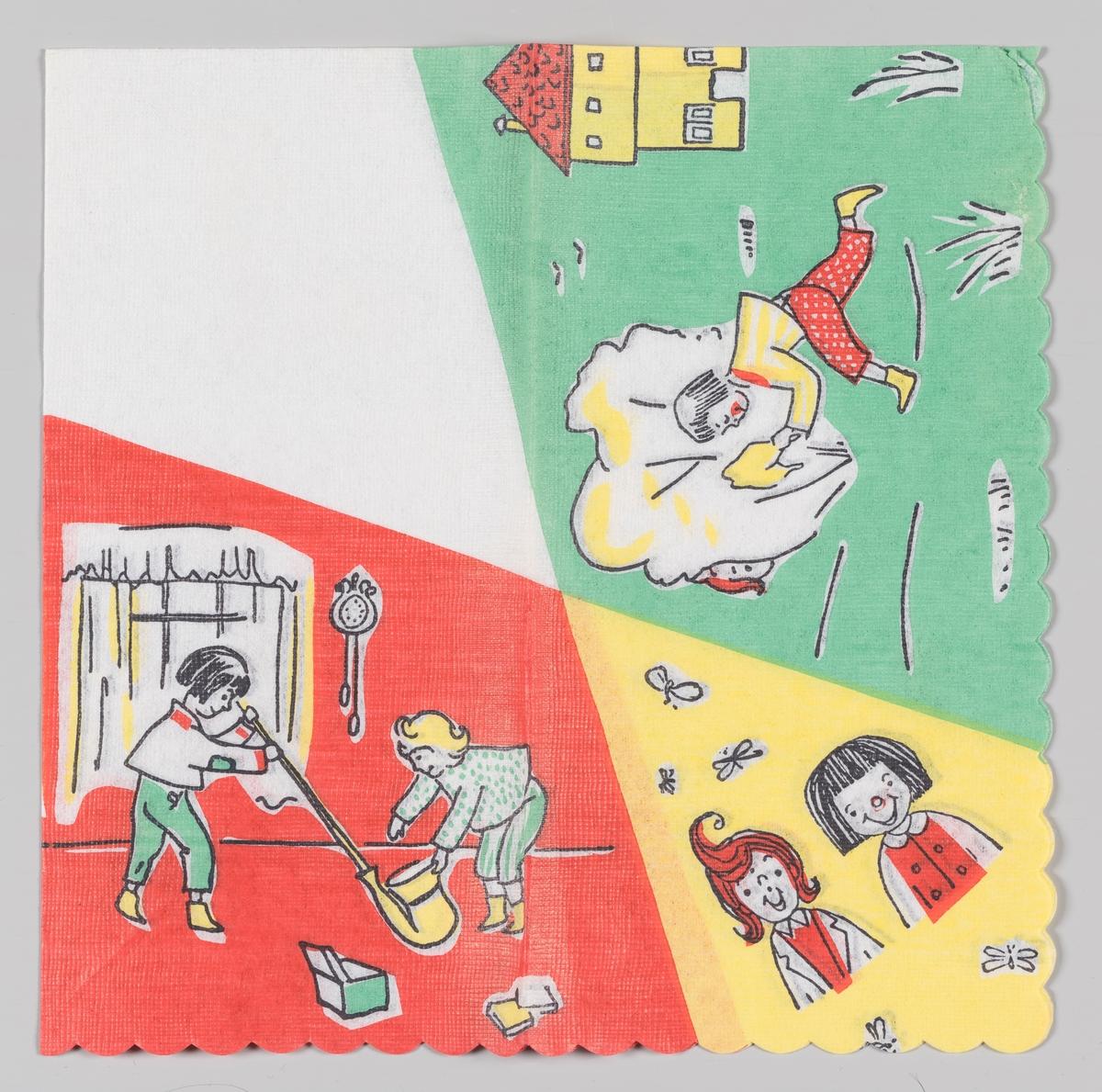 Tre scener: To jenter i et hus. To smilende jenter. En jente i en hage.